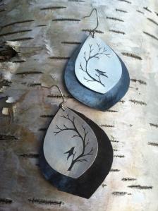 Hand Sawn Branch Earrings