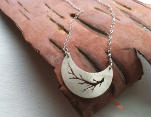 Silver Crescent Moon:Branch Necklace