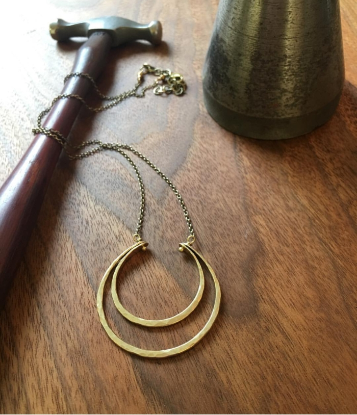 Hammering a Double Circle Necklace